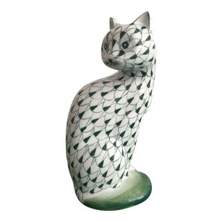 Herend Style Green and White Cat Figurine For Sale