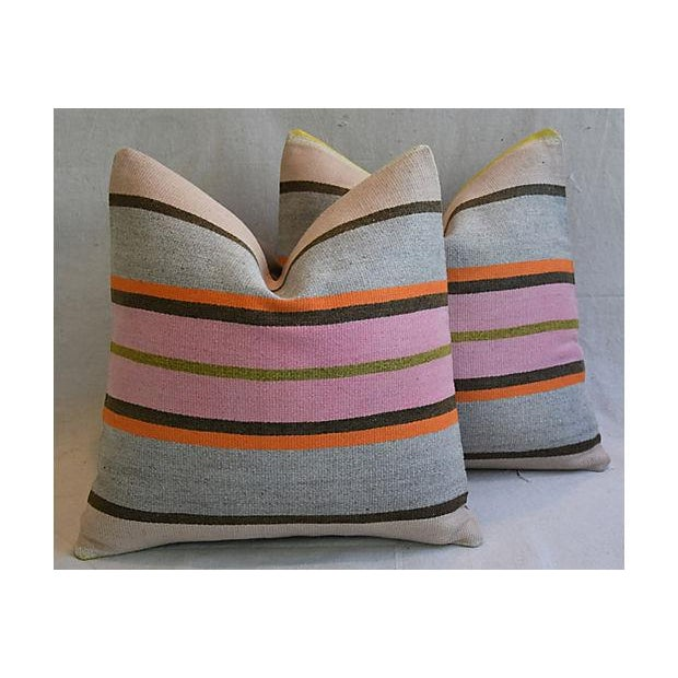 "20"" Custom Tailored Anatolian Turkish Kilim Wool Feather/Down Pillows - a Pair - Image 11 of 11"
