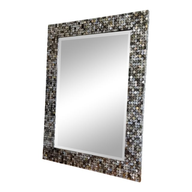 Made Goods Mother of Pearl Silver and Black Wall Mirror For Sale