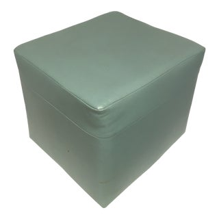 Late 20th Century Aqua Cube Naugahyde-Style Ottoman For Sale