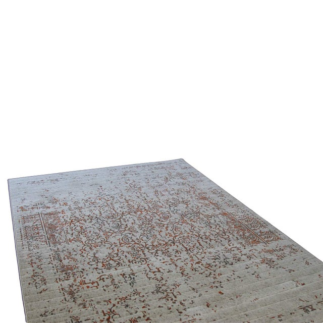 "Distressed Turkish Gray Orange Rug - 5'3"" x 7'7"" - Image 6 of 6"