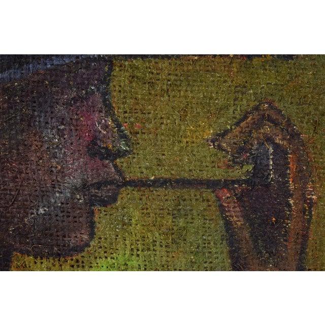 1950s Vintage Mid-Century Man in Floppy Hat De Buren Haitian Oil Painting For Sale - Image 5 of 8