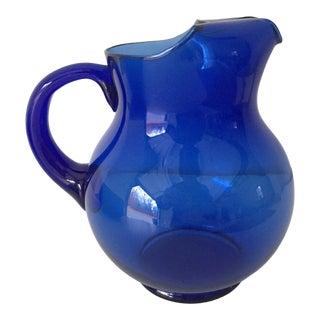 Vintage Blenko Handblown Cobalt Glass Pitcher For Sale
