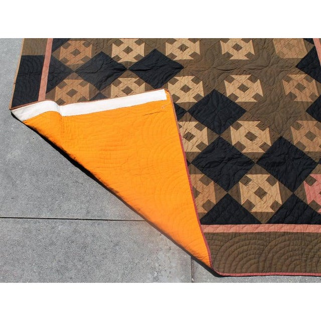 Textile 19th Century Amish Hole in the Barn Door Quilt, Dated 1890 For Sale - Image 7 of 8