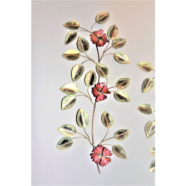 1970s Mid-Century Modern Brass Enameled Floral Signed Wall Art - a Pair For Sale - Image 5 of 9