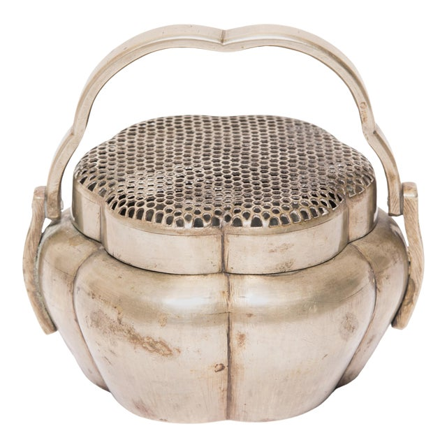 19th Century Chinese Brass Gourd Form Brazier For Sale