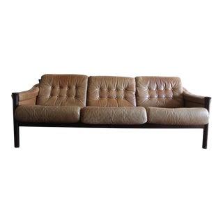 Vintage Mid Century Modern Tan Leather Torbjon Afdal Sofa For Sale