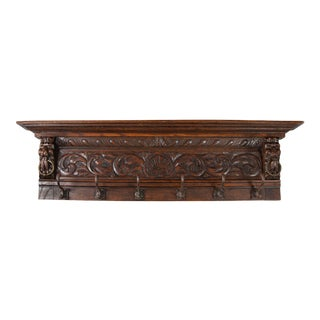 Antique 19th-Century French Oak Carved Coat Rack For Sale