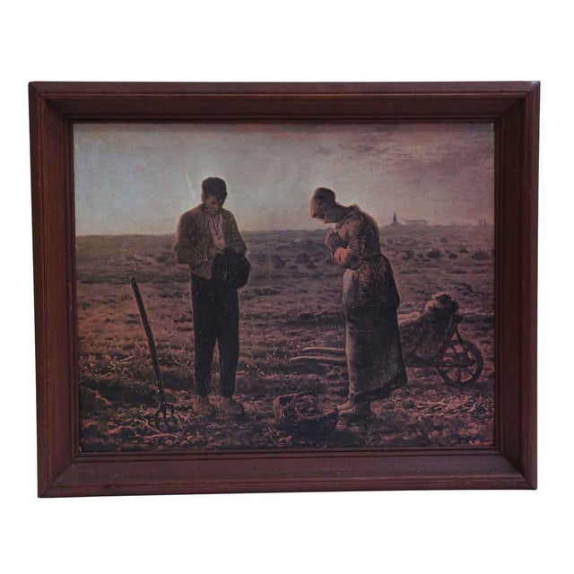 Wood The Angelus Prayer at Harvest Painting For Sale - Image 7 of 7