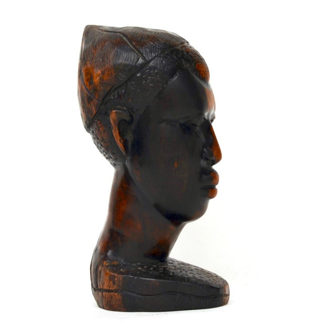 Mid 20th Century Mid Century African Wood Carved Head For Sale - Image 5 of 10