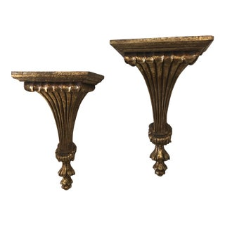Vintage Hollywood Regency Gold Wall Shelf Sconces -A Pair For Sale
