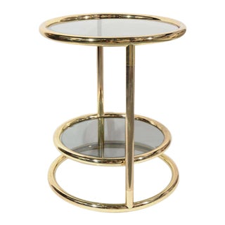 Hollywood Regency Brass and Smoked Glass Side Table With Swivel Tier For Sale