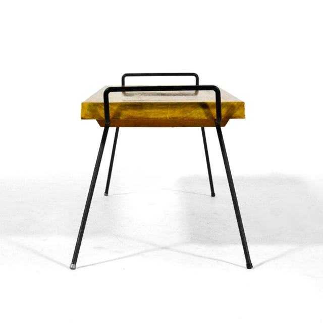 Wood Bench / Table With Iron Legs For Sale In Chicago - Image 6 of 11