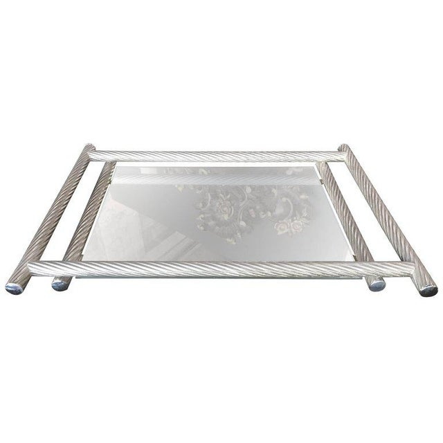 Silver Italian Rectangular Tray with Spiral Silver Frame, 1960s For Sale - Image 8 of 8