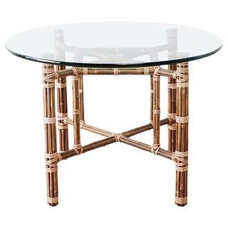 McGuire Organic Modern Bamboo Rattan Dining Table For Sale