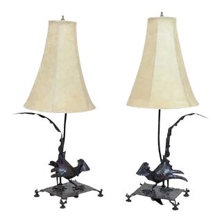 Exceptional Edgar Brandt Pair of Art Deco Pheasant Form Table Lamps For Sale