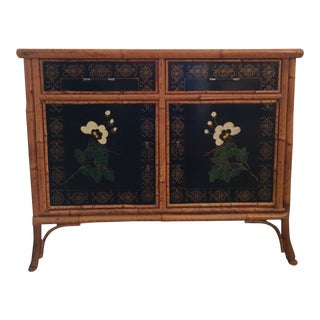 Vintage 1960s Painted Bamboo Cabinet For Sale