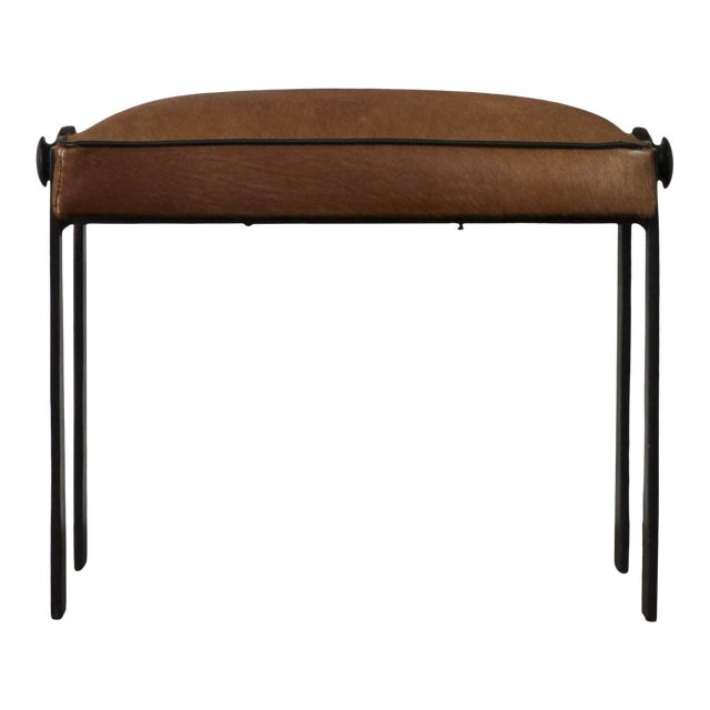 Modernist Iron and Leather Hair on Hide Stool For Sale