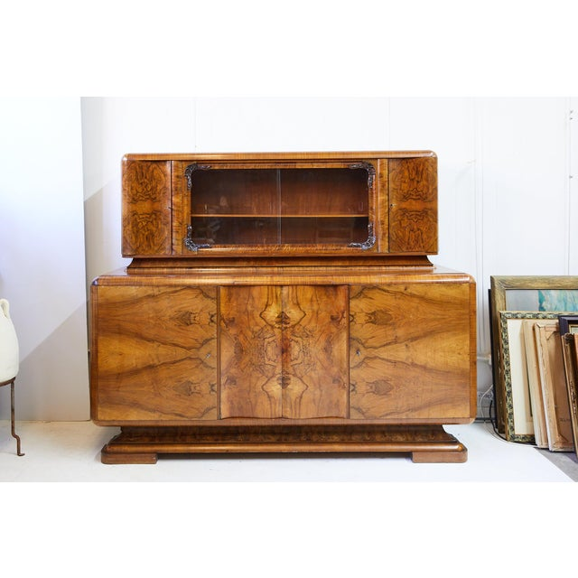 1920s Art Deco Walnut Burl Wood Sideboard or Bar Cabinet For Sale - Image 5 of 13