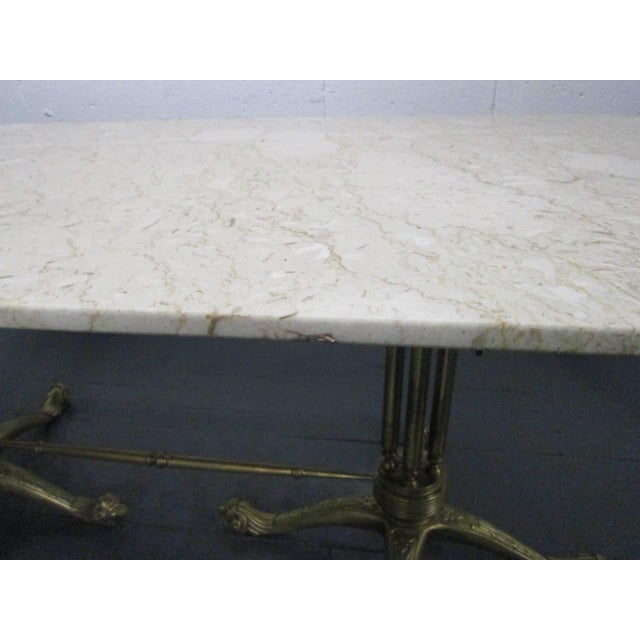 White Brass and Marble-Top Dining Table For Sale - Image 8 of 11