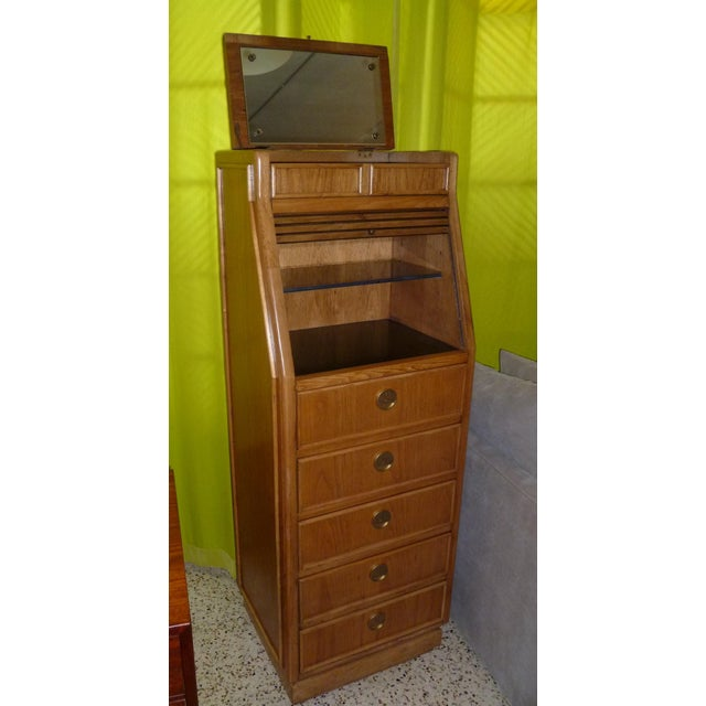 Campaign Style Modern Tall Slender Dresser Valet by American of Martinsville 1960s - Image 5 of 10