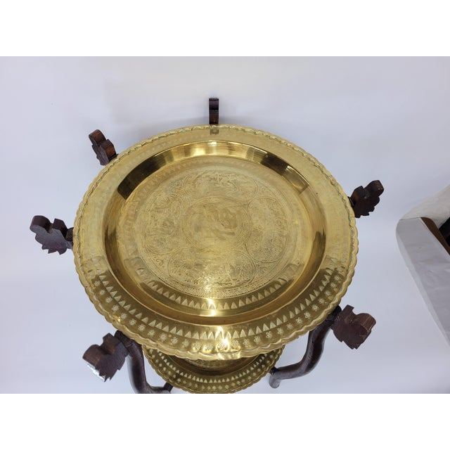 Asian Vintage Asian 2 Tier Brass Tea Table with Engraved Elephants, Deer, and Birds For Sale - Image 3 of 9