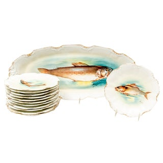 Late 18th Century Antique Limoges Fish Motif Serving Set - 13 Pieces For Sale