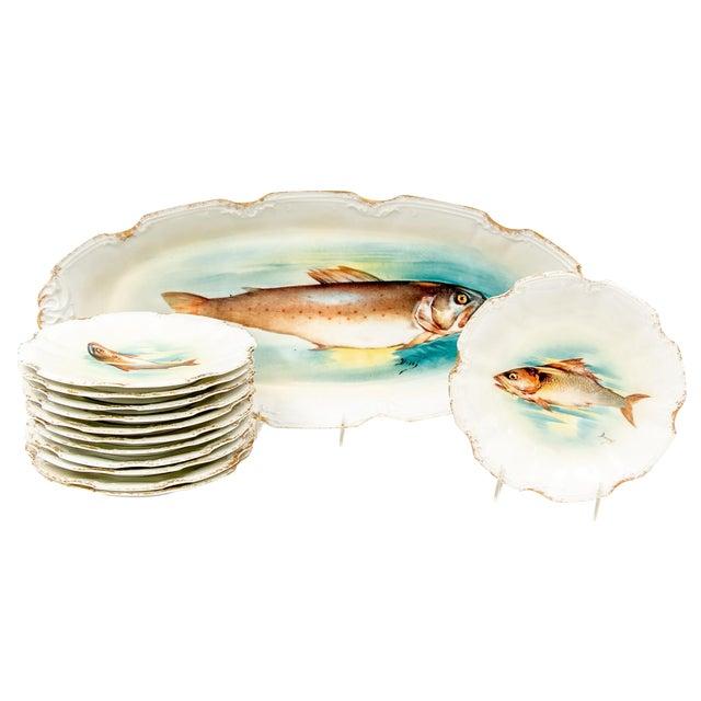 Late 18th Century Antique Limoges Fish Motif Serving Set - 13 Pieces For Sale
