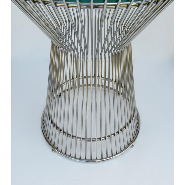 Warren Platner-Style Polished Steel and Glass Round Accent, Side Table For Sale - Image 11 of 13