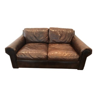 Modern Restoration Hardware Leather Lancaster Loveseat For Sale