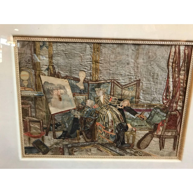 Amazing mixed media collage of an interior scene. Hand-painted watercolor paper details on handwoven French silk fabric....