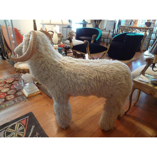 1960s Claude Lalanne Inspired Figurative Shearling Sheep Sculpture / Bench For Sale In Houston - Image 6 of 12