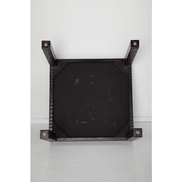Karl Springer Black Alligator Embossed Leather End Tables - a Pair For Sale - Image 4 of 11