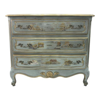 Vintage Blue Serpentine French Commode Chest of Drawers For Sale