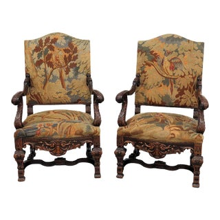 Early 20th Century Vintage Belgian Renaissance Style Needlepoint Armchairs- A Pair For Sale