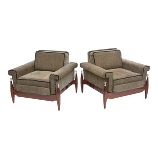 Fine Pair of Brazilian Rosewood Club Chairs