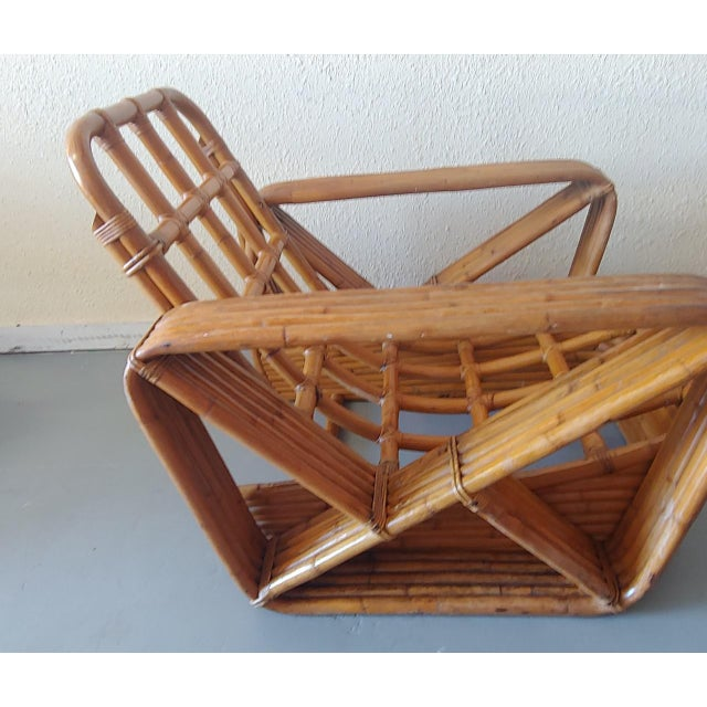 Mid 20th Century Paul Frankl Style Swoop Seat Rattan Lounge Chair For Sale - Image 11 of 13