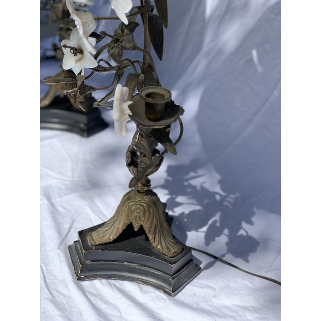 Late 19th Century Antique Late 19th Century French Brass Milk Glass Lily Lamps - a Pair For Sale - Image 5 of 8