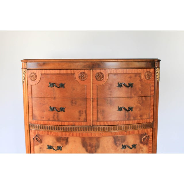 1930s Louis XV Burlwood Bow Front Tall Dresser For Sale - Image 5 of 13