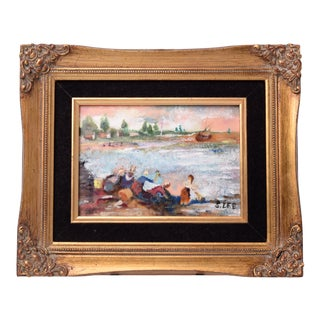 Vintage Chinoiserie Genuine Oil Painting in Cloisonne Style Enamel on Copper Frame Signed For Sale