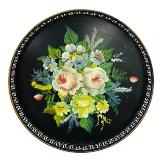 Antique Hand Painted Floral Toleware Metal Tray For Sale