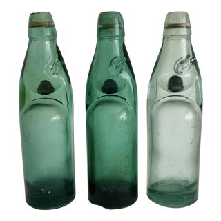 Vintage Codd Neck Soda Bottles - Set of 3 For Sale