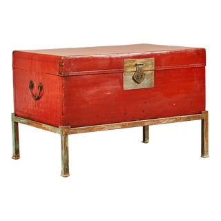 Red Lacquer Pig-Skin Leather Camphor Trunk on Stand For Sale