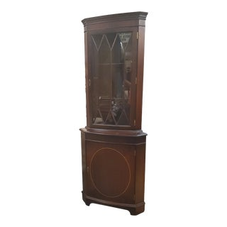 Vintage Traditional Inlaid Mahogany Corner Cabinet For Sale