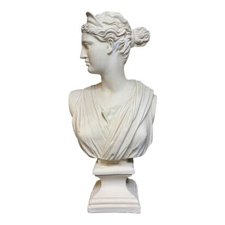 Vintage Classical Plaster Bust of Goddess Diana Artemis For Sale