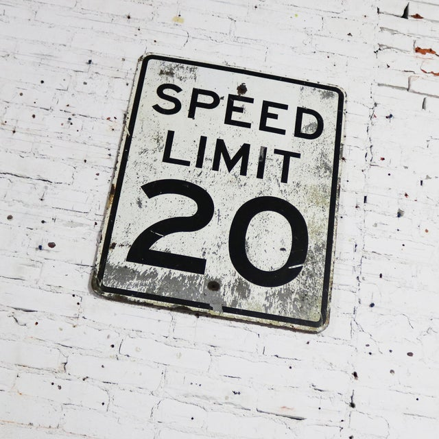 White Vintage Speed Limit 20 Large Steel Traffic Sign For Sale - Image 8 of 13
