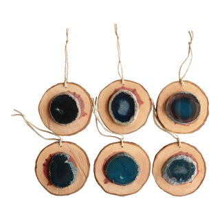Agate and Cedar Slice Christmas Ornaments - Set of 6 For Sale