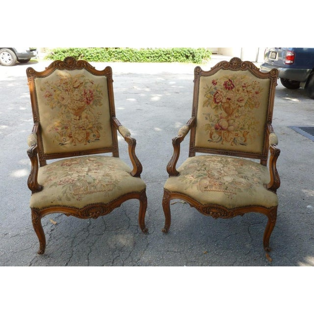 20th Century French Petit Point Needlepoint Seat Bergere Chairs - a Pair For Sale - Image 13 of 13
