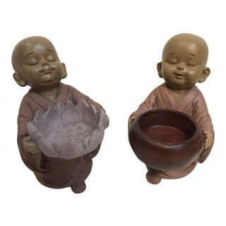 Baby Monks Candle Holders - a Pair
