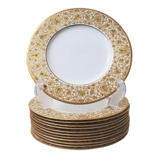 25k Gold Inlay Royal Worcester English Plates For Sale
